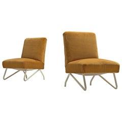 Italian Pair of Easy Chairs with Orange Velvet