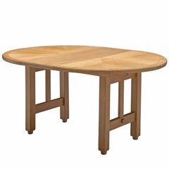 Guillerme et Chambron, Extendable Dining Table, Oak, 1960s, Oval Shaped Dining
