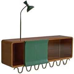 Playful Sideboard with Glass and Attached Lamp, Italy, 1950s