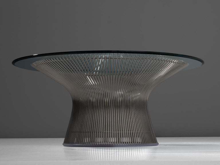 Warren Platner for Knoll, cocktail table, glass and metal, United States, 1966, 1980s production.   This iconic coffee table by Warren Platner is created by welding curved steel rods to circular and semi-circular frames, simultaneously serving as