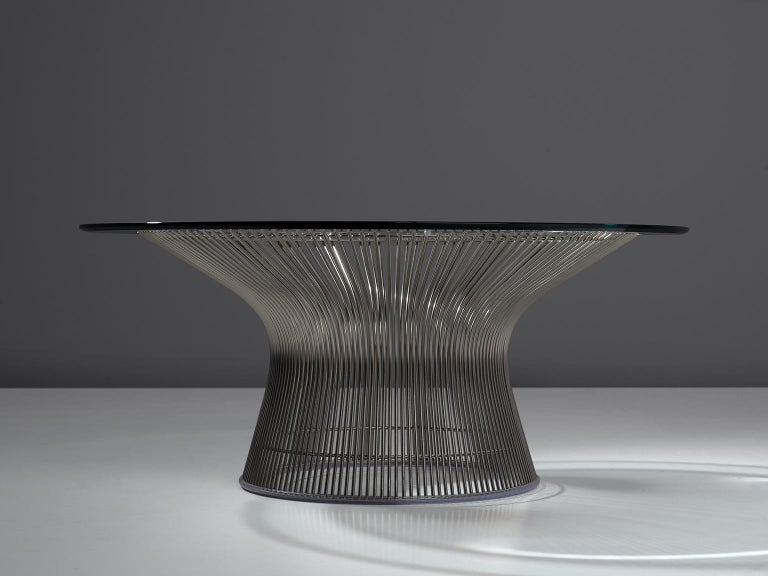 Mid-Century Modern Warren Platner for Knoll Coffee Table with Glass For Sale