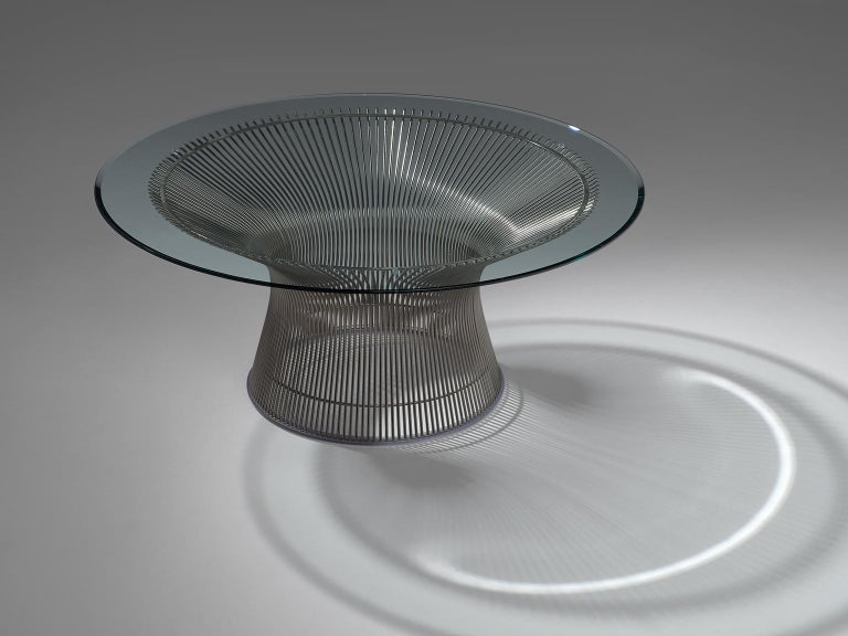 Italian Warren Platner for Knoll Coffee Table with Glass For Sale