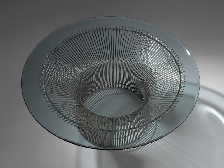 Metal Warren Platner for Knoll Coffee Table with Glass For Sale