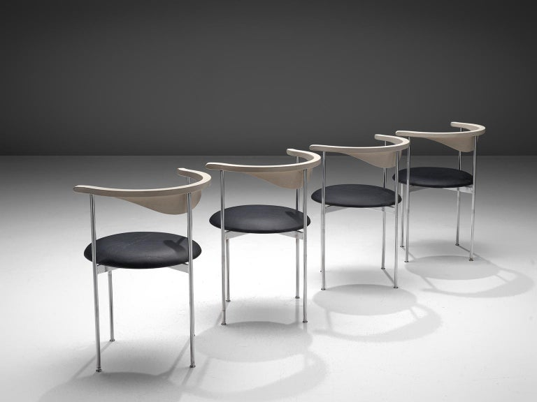 Frederik Sieck, four chairs, black skai, metal, white wood, Denmark, design 1962, execution 1967.  These industrial clear set of the model 3200 chairs were designed by the Swedish Frederik Sieck for Fritz Hansen. The round chair has a classic
