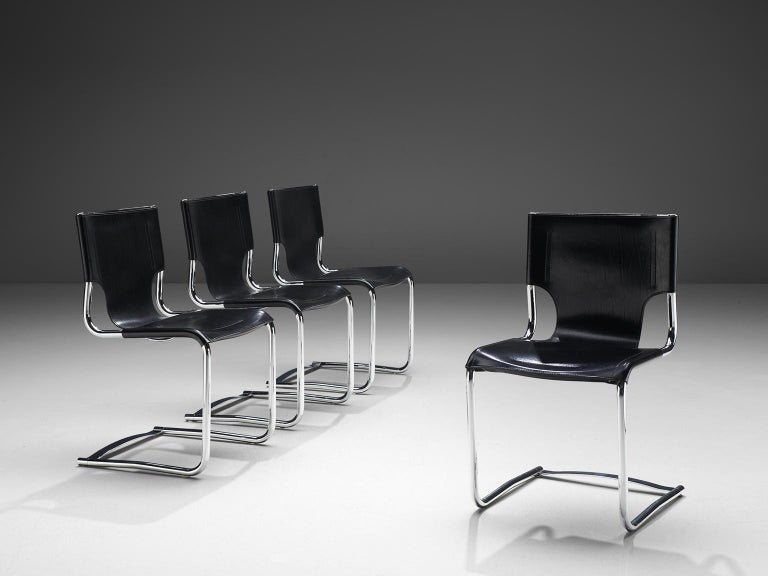 Italian Claudio Bartoli Set of Four Dining Chairs For Sale