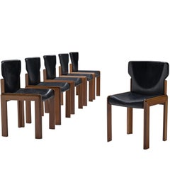 Luciano Frigerio Set of Six Black Leather Chairs