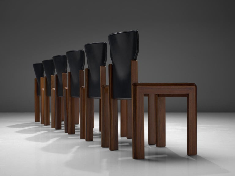 Luciano Frigerio, set of six leather 'Pagani' chairs in various woods, Italy, circa 1975