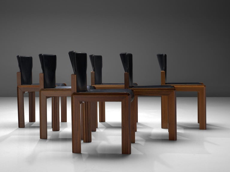 Mid-Century Modern Luciano Frigerio Set of Six Black Leather Chairs For Sale