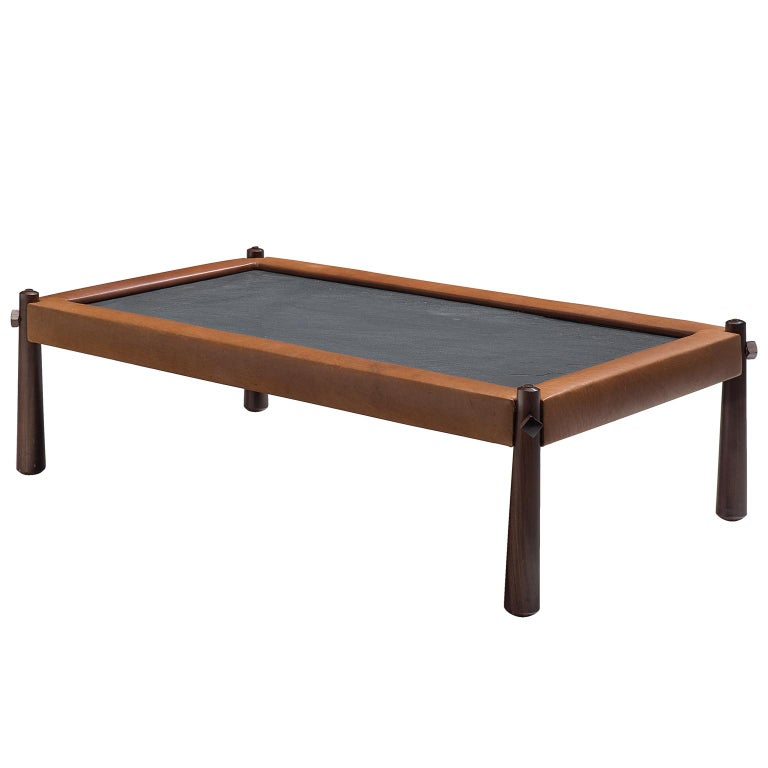 Percival Lafer Coffee Table with Cognac Leather For Sale