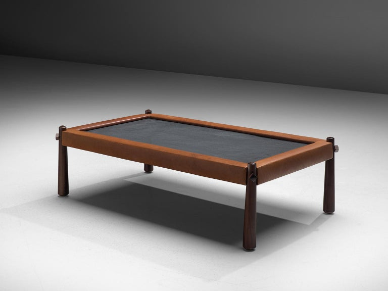 Percival Lafer Coffee Table with Cognac Leather In Good Condition For Sale In Waalwijk, NL