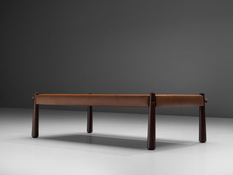 Mid-Century Modern Percival Lafer Coffee Table with Cognac Leather For Sale