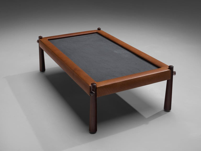 Brazilian Percival Lafer Coffee Table with Cognac Leather For Sale