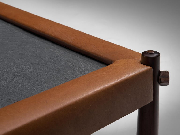 Percival Lafer Coffee Table with Cognac Leather For Sale 1