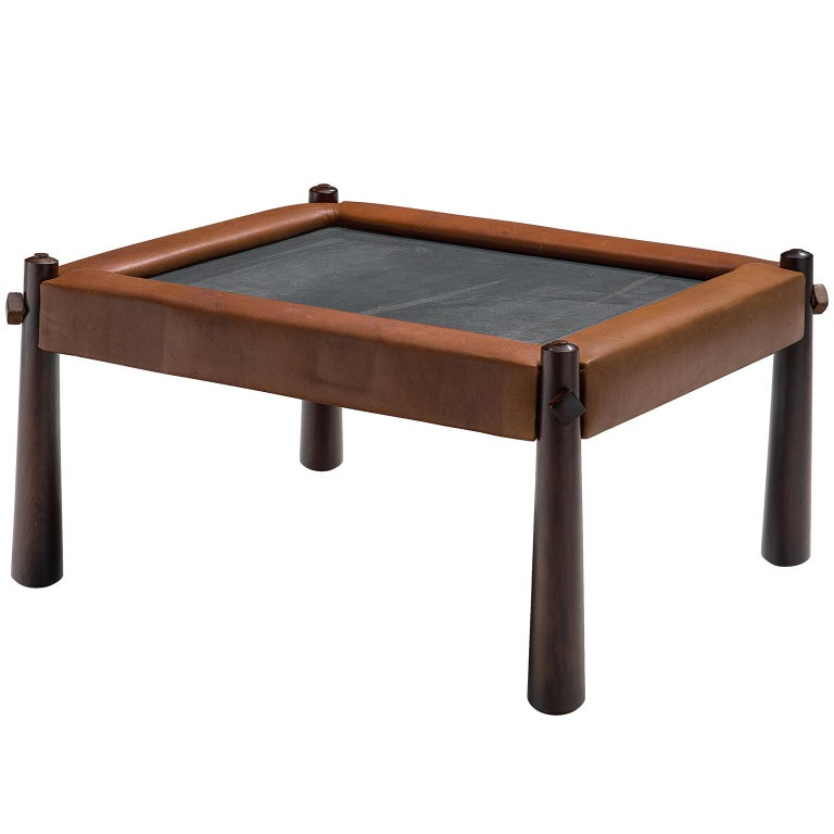 Percival Lafer Small Coffee Table with Cognac Leather For Sale