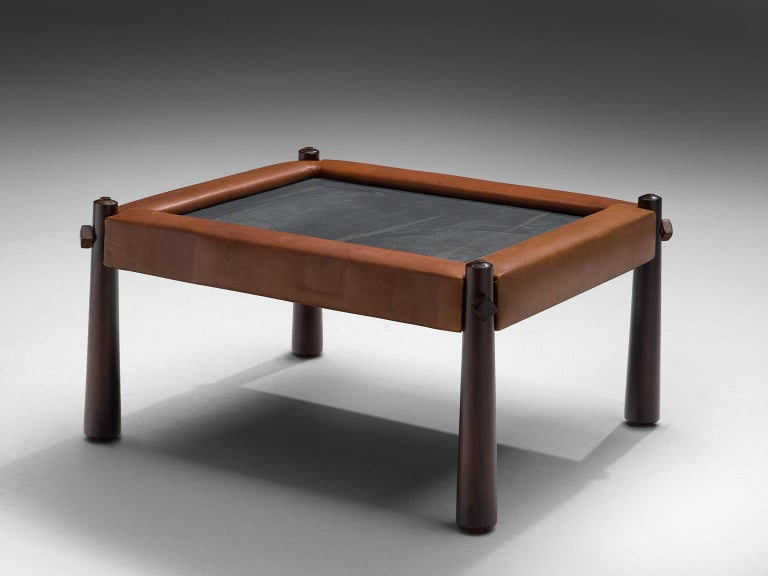 Percival Lafer Small Coffee Table with Cognac Leather In Good Condition For Sale In Waalwijk, NL