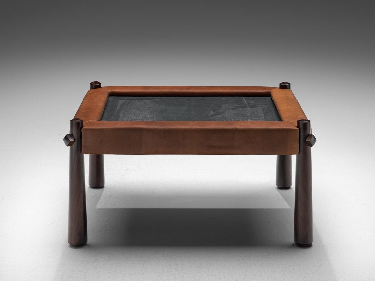 Percival Lafer, coffee table, slate, leather and rosewood, Brazil, 1970s