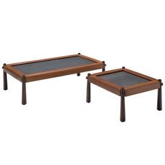 Percival Lafer Set of Two Coffee Tables with Cognac Leather