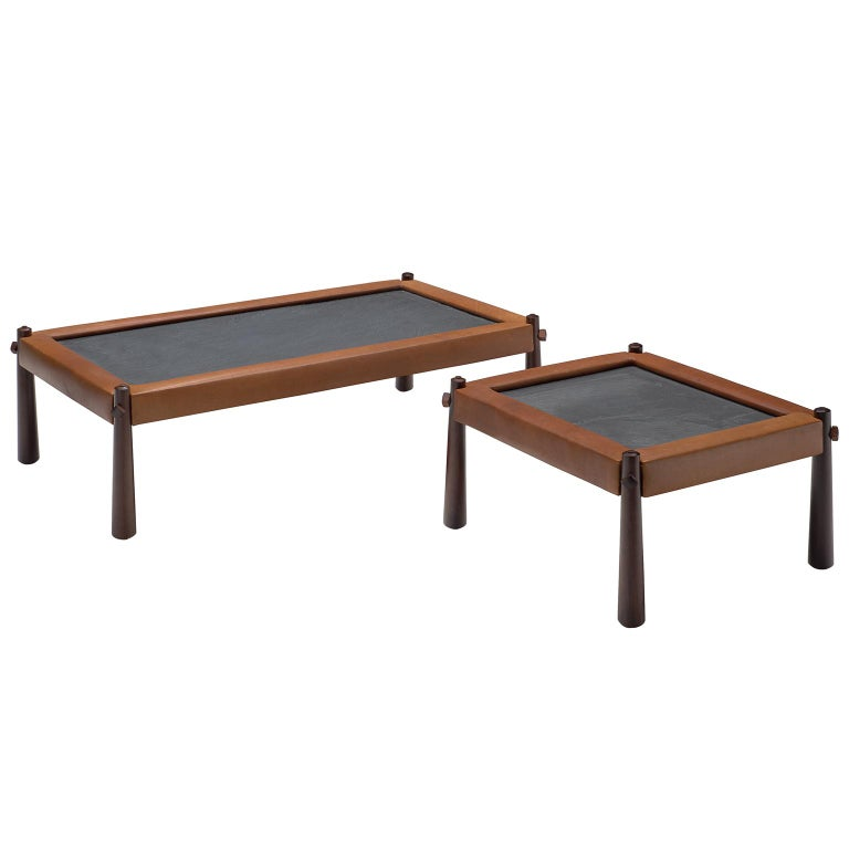 Percival Lafer Set of Two Coffee Tables with Cognac Leather For Sale