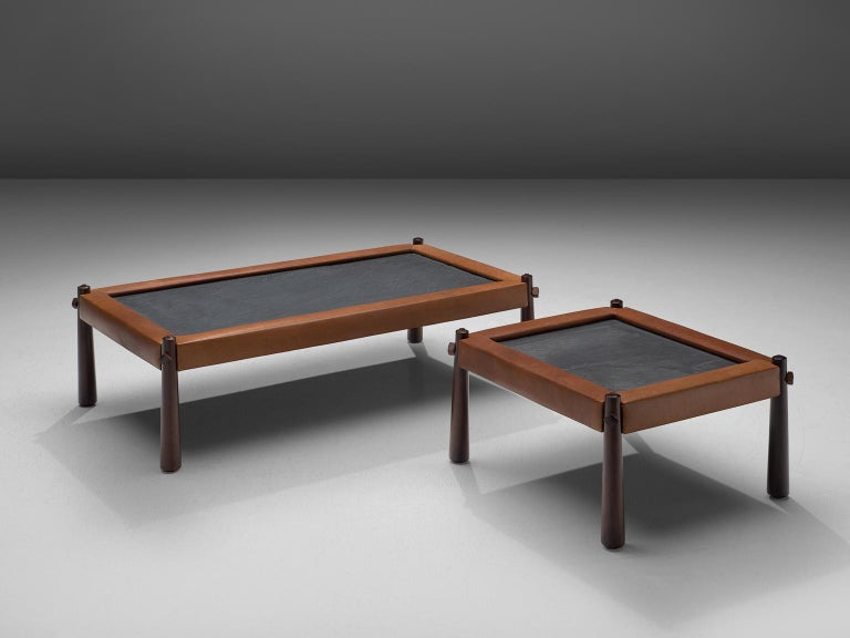 Mid-Century Modern Percival Lafer Set of Two Coffee Tables with Cognac Leather For Sale
