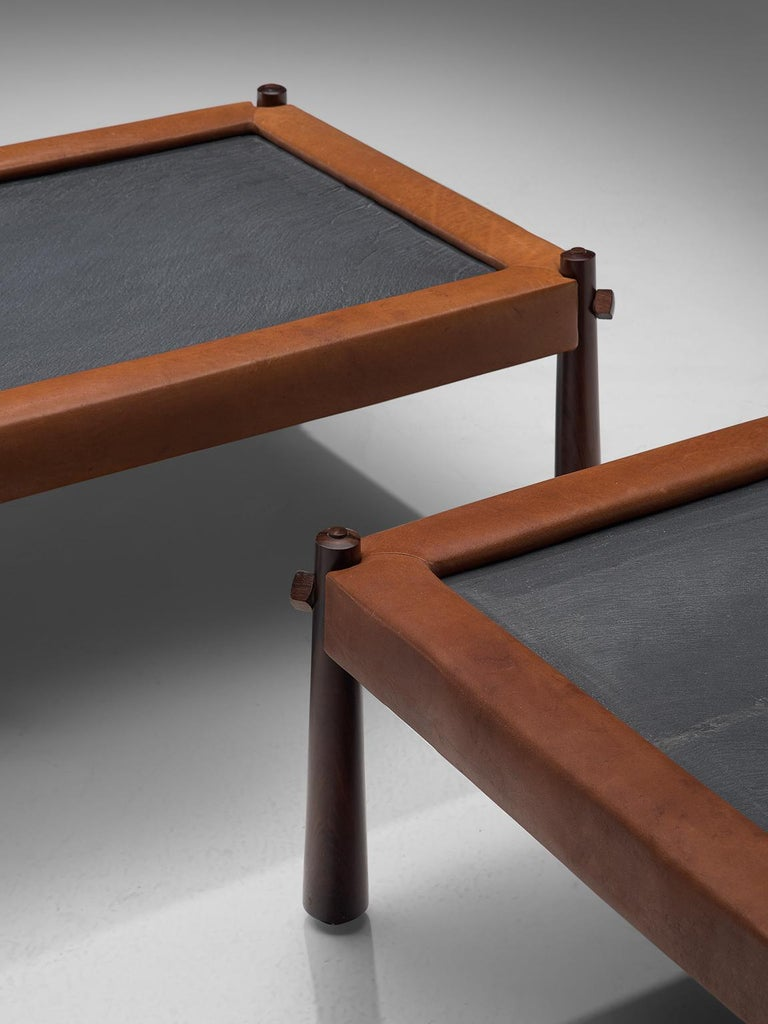 Brazilian Percival Lafer Set of Two Coffee Tables with Cognac Leather For Sale