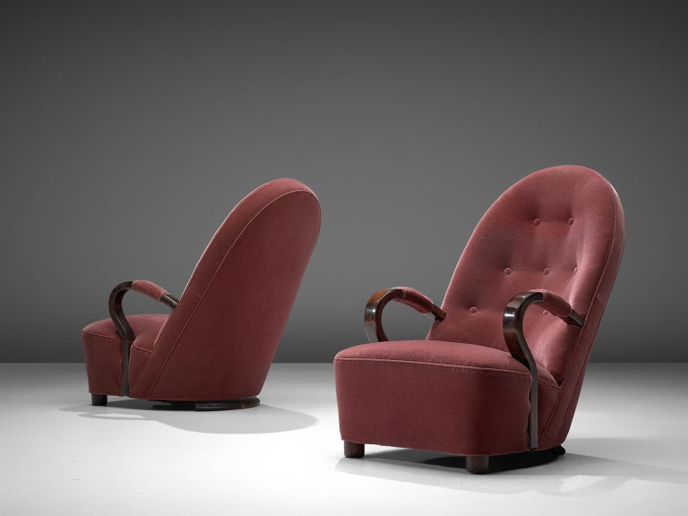 Stained Art Deco Lounge Chairs with Red Upholstery For Sale