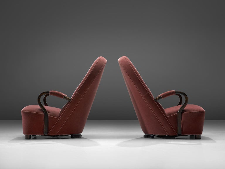 French Art Deco Lounge Chairs with Red Upholstery For Sale