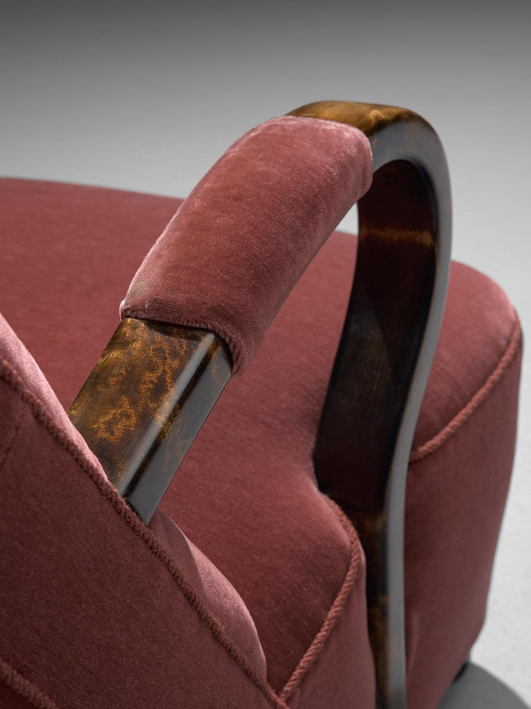 Mid-20th Century Art Deco Lounge Chairs with Red Upholstery For Sale