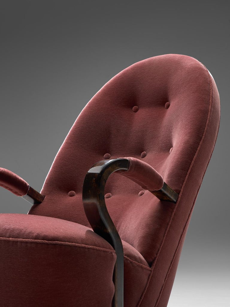 Art Deco Lounge Chairs with Red Upholstery For Sale 1