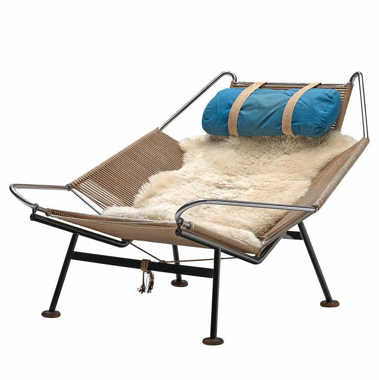 Hans J. Wegner Flag Halyard Chair with Wooden Feet For Sale