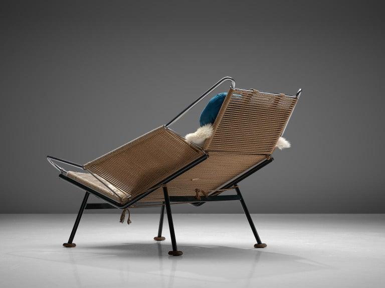 Scandinavian Modern Hans J. Wegner Flag Halyard Chair with Wooden Feet For Sale