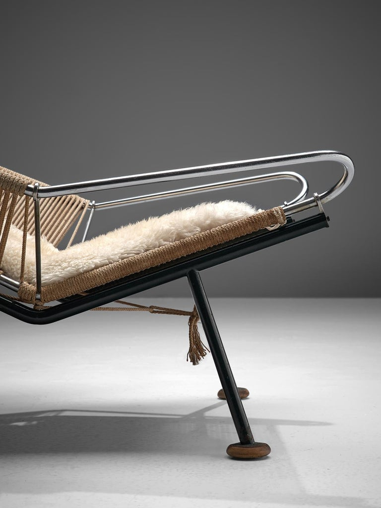 Rope Hans J. Wegner Flag Halyard Chair with Wooden Feet For Sale
