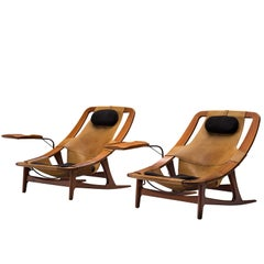 Arne F. Tidemand Ruud Rare Pair of Cognac Leather 'Holmenkollen' Lounge Chairs