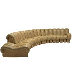 De Sede 'Snake' DS-600 Non Stop Sofa in Beige Leather and Suede