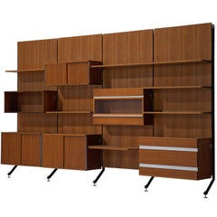 MIM Roma Wall Unit in Teak, 1960s