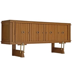 French Brass and Oak Credenza