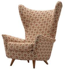 Grand Italian Wingback Chair in Original Fabric