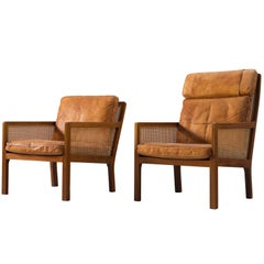 Set of Two Lounge Chairs in Mahogany and Cognac Leather by Bernt for Wørts