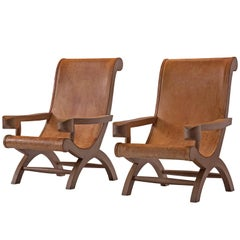 Clara Porset Pair of Butaque Lounge Chairs in Cognac Leather