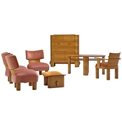 French Art Deco Living Room Set in Walnut