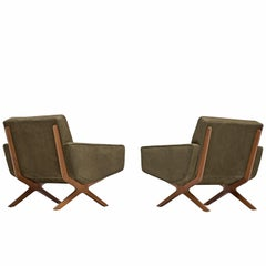 Hvidt & Mølgaard Pair of Reupholstered Green Leather Lounge Chairs