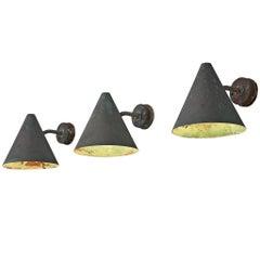 Set of Three Hans-Agne Jakobsson 'Tratten' Copper Wall Lights