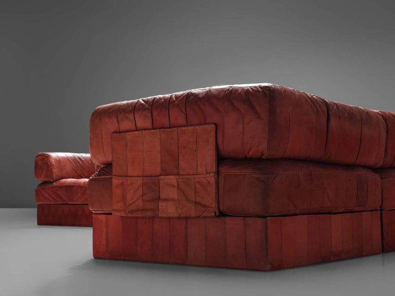 De Sede DS88 Red Modular Sofa Leather For De Sede For Sale At 1stdibs