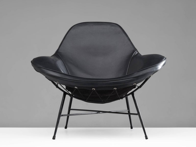 Mid-Century Modern Martin Eisler Armchair in Steel and Leather For Sale