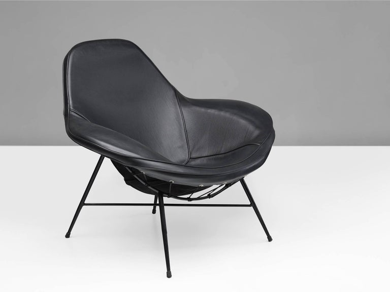 Brazilian Martin Eisler Armchair in Steel and Leather For Sale