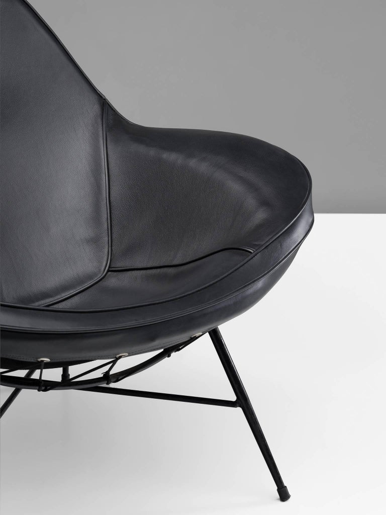 Mid-20th Century Martin Eisler Armchair in Steel and Leather For Sale