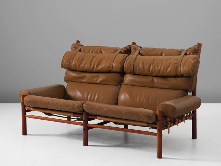 Cognac Buffalo Leather 'Inca' Sofa by Arne Norell 3