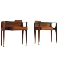 Pair of Brass and Rosewood Italian Nightstands