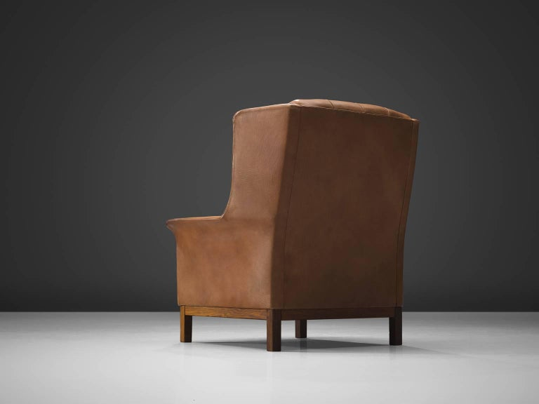 Scandinavian Modern Arne Norell High Back Chair in Patinated Cognac Buffalo Leather For Sale