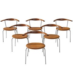 Hans Wegner Set of Six '701' Chairs in Mahogany and Cognac Leather