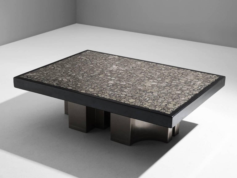 Jean Claude Dresse, coffee table, resin with inlaid marcasite, enameled steel, Belgium, 1970s. 